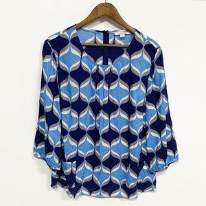 Boden | Blue Geometric Print Patch Pocket Blouse